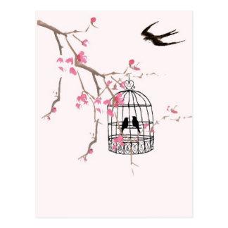 Fleurs de cerisier, hirondelle - mariage, carte postale