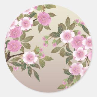 Fleurs de cerisier japonaises sticker rond