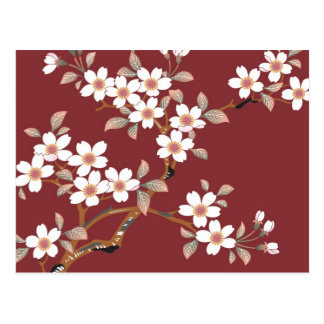 Fleurs de cerisier japonaises carte postale