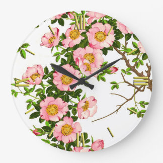 Fleurs de cerisier japonaises vintages, rose et or grande horloge ronde