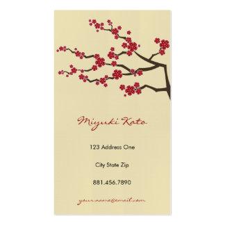 Fleurs de cerisier orientales rouges de zen de carte de visite