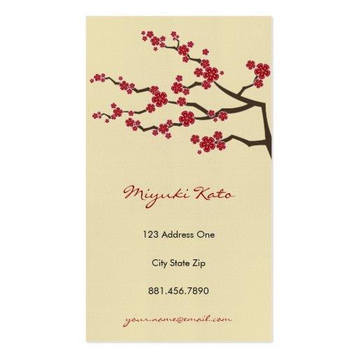 Fleurs de cerisier orientales rouges de zen de Sak Carte De Visite