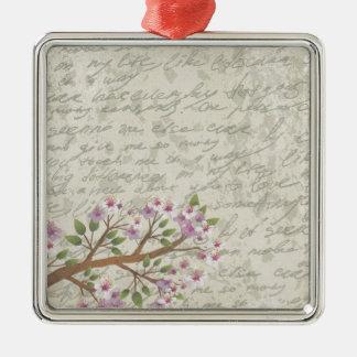 Fleurs de cerisier ornement carré argenté