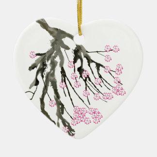 Fleurs de cerisier roses 24, Fernandes élégant Ornement Cœur En Céramique
