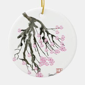 Fleurs de cerisier roses 24, Fernandes élégant Ornement Rond En Céramique