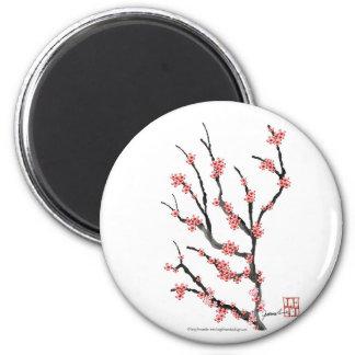 Fleurs de cerisier roses 25, Fernandes élégant Magnet Rond 8 Cm