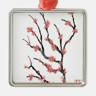 Fleurs de cerisier roses 25, Fernandes élégant Ornement Carré Argenté