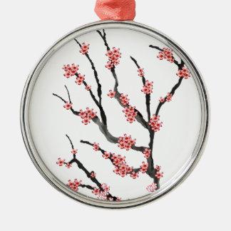 Fleurs de cerisier roses 25, Fernandes élégant Ornement Rond Argenté