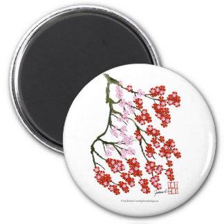 Fleurs de cerisier roses 26, Fernandes élégant Magnet Rond 8 Cm
