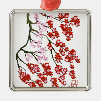 Fleurs de cerisier roses 26, Fernandes élégant Ornement Carré Argenté