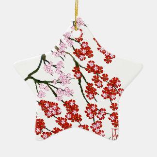 Fleurs de cerisier roses 26, Fernandes élégant Ornement Étoile En Céramique