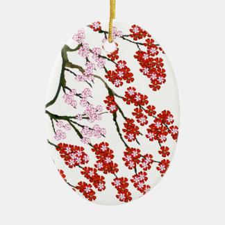 Fleurs de cerisier roses 26, Fernandes élégant Ornement Ovale En Céramique