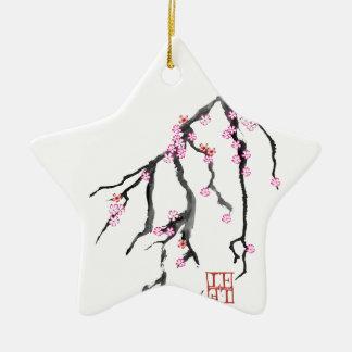 Fleurs de cerisier roses 28, Fernandes élégant Ornement Étoile En Céramique