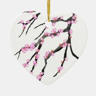 Fleurs de cerisier roses 31, Fernandes élégant Ornement Cœur En Céramique