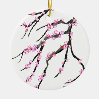 Fleurs de cerisier roses 31, Fernandes élégant Ornement Rond En Céramique