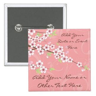 Fleurs de cerisier roses molles badge carré 5 cm
