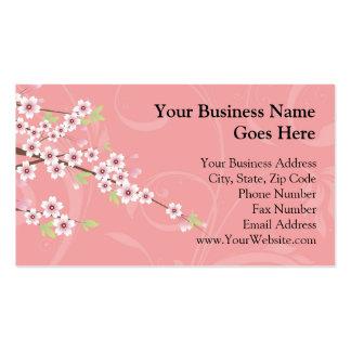 Fleurs de cerisier roses molles carte de visite