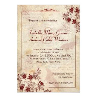 Fleurs de cerisier vintages carton d'invitation  12,7 cm x 17,78 cm