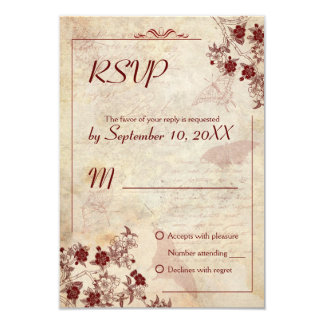 Fleurs de cerisier vintages épousant l'invitation carton d'invitation 8,89 cm x 12,70 cm