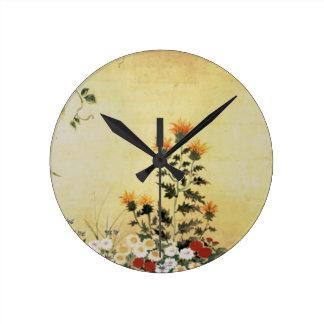 Fleurs de chute horloge ronde