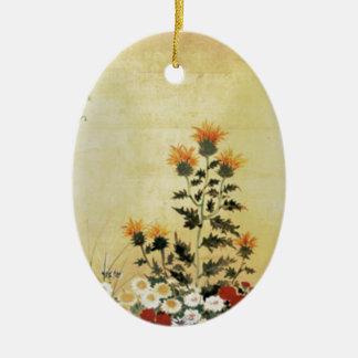 Fleurs de chute ornement ovale en céramique