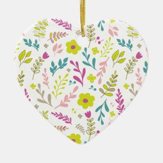 Fleurs de Colorfull sur le blanc Ornement Cœur En Céramique