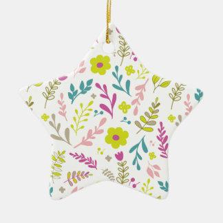 Fleurs de Colorfull sur le blanc Ornement Étoile En Céramique