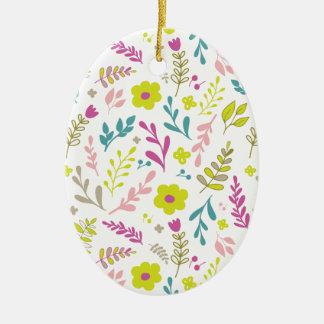 Fleurs de Colorfull sur le blanc Ornement Ovale En Céramique