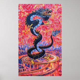 Fleurs de dragon au-dessus de l'affiche de ville posters