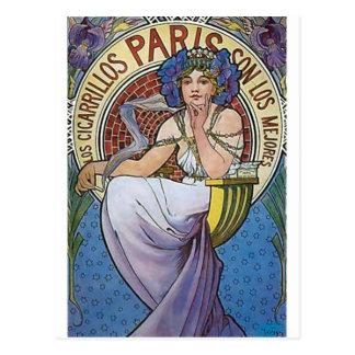 Fleurs de femme d'art déco de Mucha Paris Carte Postale
