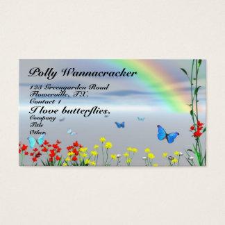 Fleurs de jardin de papillon cartes de visite