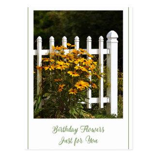 Fleurs de joyeux anniversaire juste pour vous carte postale