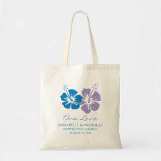 Fleurs de ketmie de bleu royal et de lavande | tote bag