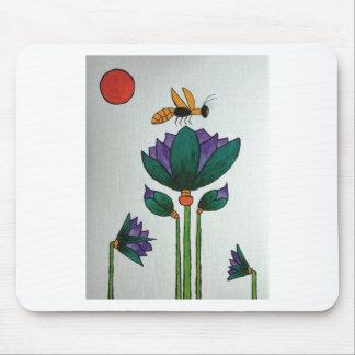 Fleurs de Lotus avec l'abeille Tapis De Souris
