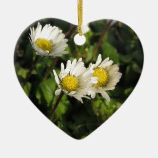 Fleurs de marguerite blanche sur l'arrière - plan ornement cœur en céramique