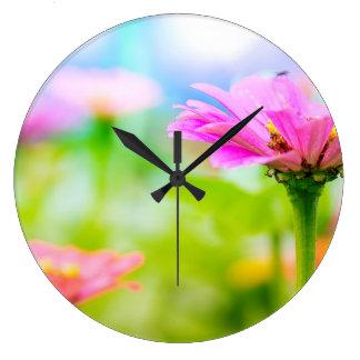 Fleurs de matin grande horloge ronde