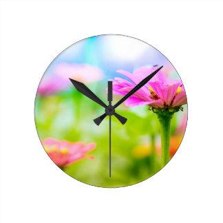 Fleurs de matin horloge ronde