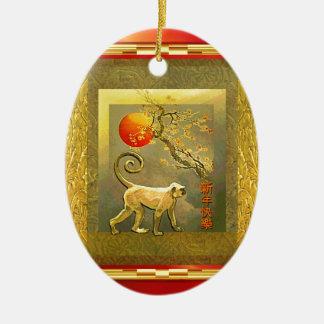 Fleurs de nouvelle année de singe de lune rouge ornement ovale en céramique