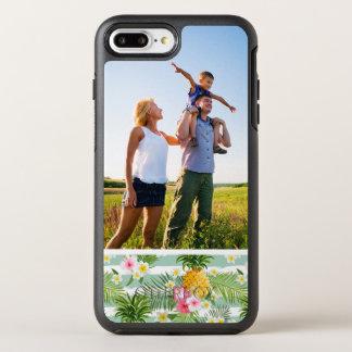 Fleurs de photo et rayures tropicales d'ananas coque OtterBox symmetry iPhone 8 plus/7 plus