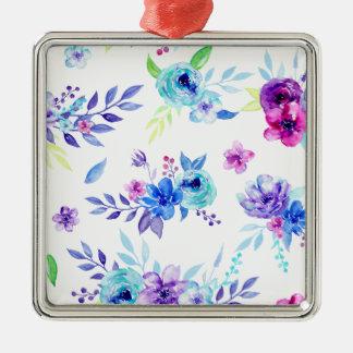 Fleurs de pourpre d'aquarelle ornement carré argenté