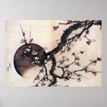 Fleurs de prune et la lune, Hokusai Posters