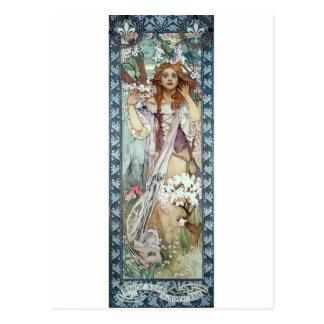 Fleurs de ressort de fleurs d'art déco de femme de cartes postales
