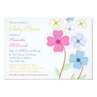 Fleurs de ressort - invitation du baby shower 3x5