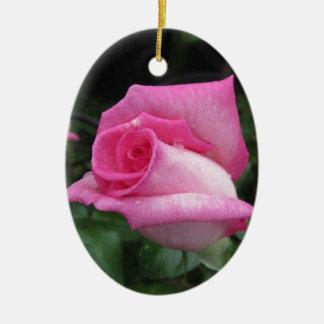 Fleurs de rose de rose avec des gouttelettes d'eau ornement ovale en céramique