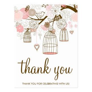 Fleurs de rose et de Brown et carte de remerciemen Carte Postale