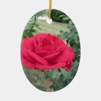 Fleurs de rose rouge avec des gouttelettes d'eau ornement ovale en céramique