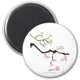 fleurs de Sakura avec des oiseaux, fernandes Magnet Rond 8 Cm