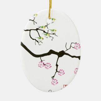 fleurs de Sakura avec des oiseaux, fernandes Ornement Ovale En Céramique