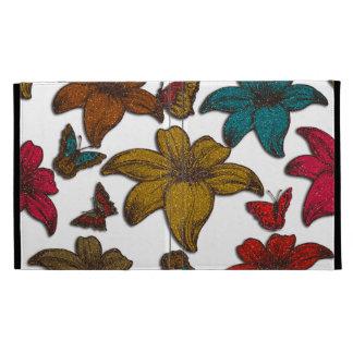 Fleurs de scintillement coque folio iPad