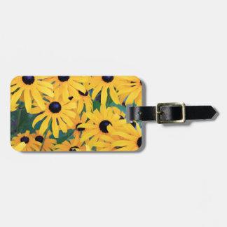 Fleurs de Susan observées par noir dans Étiquette Pour Bagages